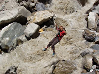 Anne braving a Karakorum river crossing. Photo: John Arran